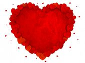 A frame consisting of red hearts and red background