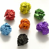 Group Of Color Crumpled Paper Ball