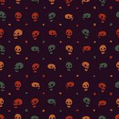 Halloween party skull background seamless pattern.