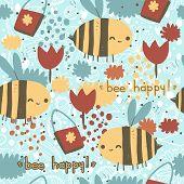 Bee happy vector seamless pattern.