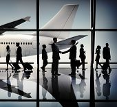 Business People Travel Handshake Airport Concept