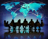 Silhouette Group of People Meeting Global Business Concept