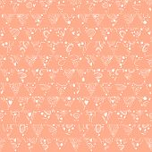 Hand-drawn seamless floral pattern retro colors.