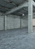 3D Rendering of Vintage Style of Empty Spacious Concrete Building Structure Interior Design With No Color.