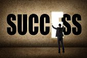 Concept of success, asian business man with text.