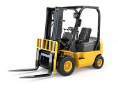 Forklift truck on white isolated background. 3d