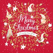 Fantastic Merry Christmas card in vector. Cute stylish birds on Merry Christmas text on bright red background