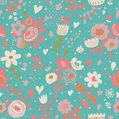 Stylish floral seamless pattern for vintage backgrounds in vector