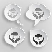weather in hands. White flat vector buttons on gray background.