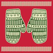 Christmas greeting card with knitted mittens. Vector  illustration in green and red colors