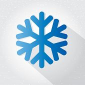 Blue Snowflake flat icon on light grey background
