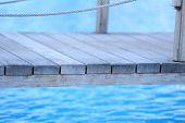 Wooden bridge on way to harbor, close-up