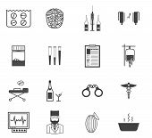 Black vector icons for the psychiatrist expert in narcology