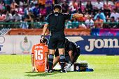 Sisaket Thailand-october 22: The Referee (black) In Action During Thai Premier League Between Sisake