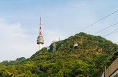 foto of seoul south korea  - Cable Car To N Seoul Tower  At Namsan South Korea