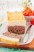 image of meatloaf  - Beef Meatloaf with Green Peas Topped with Cheesy Mashed Potato copy space for your text - JPG