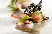 picture of buffet  - Buffet Seafood Salad on White Dish - JPG