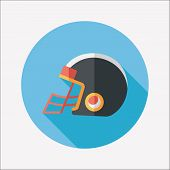 pic of football helmet  - American Football Helmet Flat Icon With Long Shadow - JPG