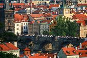 Aerial View Of Prague City With Charles Bridge