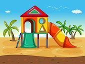 illustration of playground on the beach