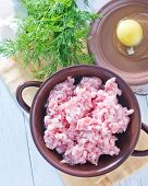 picture of ground-beef  - pig ground beef for meatballs in the dish on the table - JPG