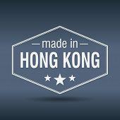 Made In Hong Kong Hexagonal White Vintage Label