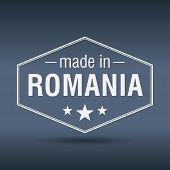Made In Romania Hexagonal White Vintage Label