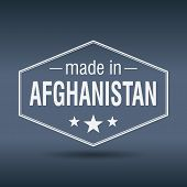 Made In Afghanistan Hexagonal White Vintage Label