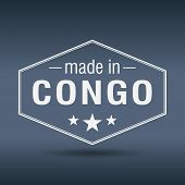 Made In Congo Hexagonal White Vintage Label