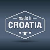 Made In Croatia Hexagonal White Vintage Label