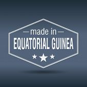 Made In Equatorial Guinea Hexagonal White Vintage Label