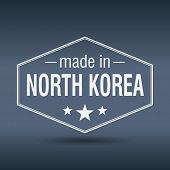 Made In North Korea Hexagonal White Vintage Label
