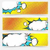 Yellow Background Pop-art Explosion Bubble Set