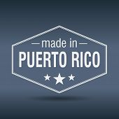 Made In Puerto Rico Hexagonal White Vintage Label