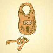 Sketch  Padlock With Keys In Vintage Style