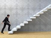 picture of climb up  - Concept or conceptual 3D man or  businessman climbing on a stair or steps near a wall background - JPG