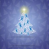 Christmas Tree With Blue Awareness Ribbons