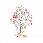 Greeting card with Christmas tree, bullfinches and holidays symbols.