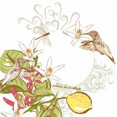 Vector Background In Vintage Style With Lemon Flowers