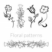 stock photo of loach  - Collection vector stylish black white flowers - JPG