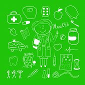 Health icons, doodle ilustration, woman doctor