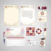 Abstract Flower Symbol Background Corporate Identity Set