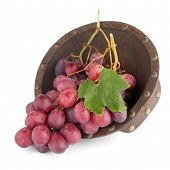 Fresh Red Grapes In Wood Bown