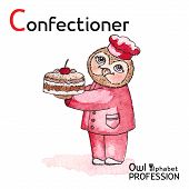 pic of confectioners  - Alphabet professions Owl Letter C  - JPG