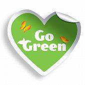 Heart Go Green Sticker Isolated On White
