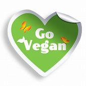 Heart Green Vegan Sticker Isolated On White