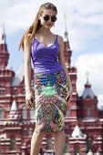 Young beautiful woman in Moscow, Russia