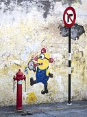 Street Art Painting Of Minion In Georgetown, Penang, Malaysia
