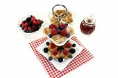 Poffertjes With Raspberries On A Cake Stand