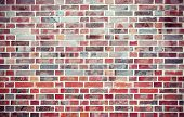 Red Grunge Brick Wall  Background With Vignetted Corners.